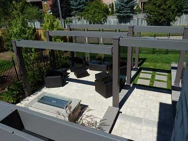 Aerial photo of the pergola and patio with the fire pit